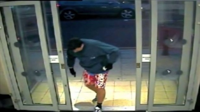 Matthew Davey in the Santander bank in Cheadle during his failed robberynFrom MEN Syndication
