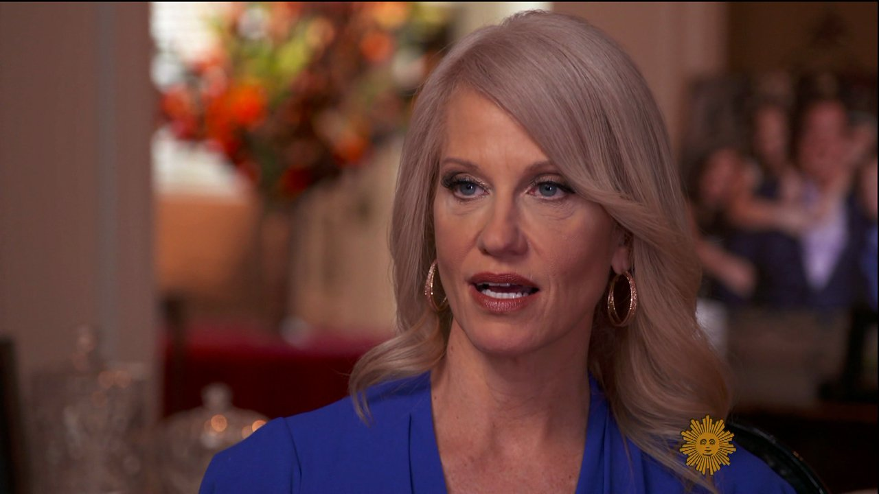 "Kellyanne Conway during an appearance on CBS's 'Sunday Morning. The adviser to President Trump talks about becoming a lightning rod over her defense of ""alternative facts,"" and a victim of a ""triple standard"" because of her views as a conservative woman. Featuring: Kellyanne Conway Where: United States When: 06 Mar 2017 Credit: Supplied by WENN.com **WENN does not claim any ownership including but not limited to Copyright, License in attached material. Fees charged by WENN are for WENN's services only, do not, nor are they intended to, convey to the user any ownership of Copyright, License in material. By publishing this material you expressly agree to indemnify, to hold WENN, its directors, shareholders, employees harmless from any loss, claims, damages, demands, expenses (including legal fees), any causes of action, allegation against WENN arising out of, connected in any way with publication of the material.**"