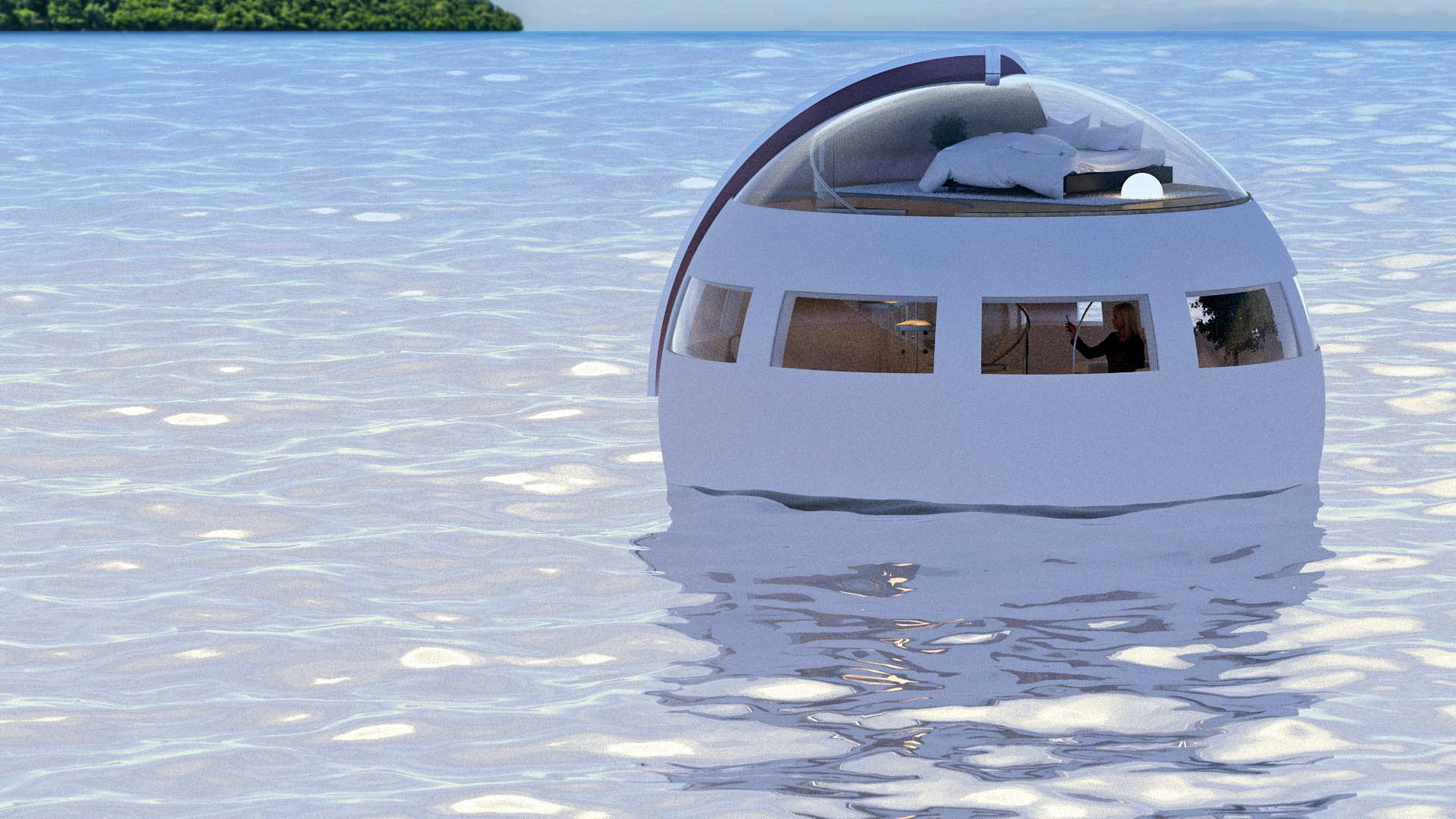 This floating hotel room lets you spend the night in the sea and wake up on a desert island