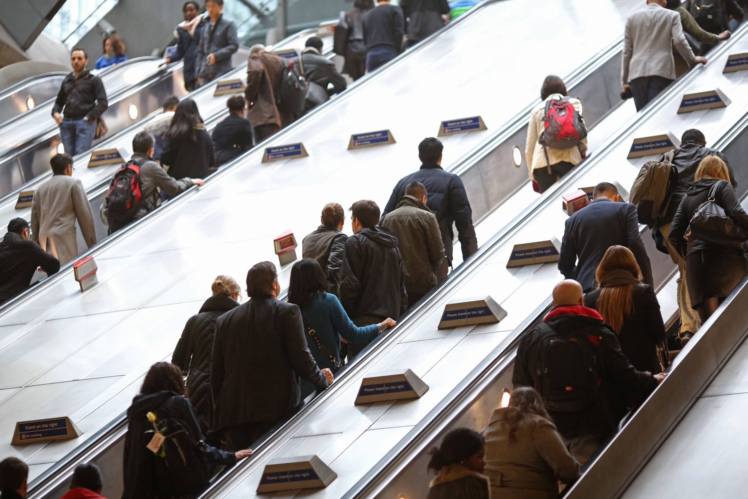 TfL scraps standing only escalators (Getty) Commuters travel on escalators at a London Underground station in the Canary Wharf business, financial and shopping district in London, U.K., on Friday, Oct. 30, 2015. In its monthly consumer confidence index, GfK said a measure of Britons' outlook for the economy over the next 12 months dropped to minus 4 in October, the lowest reading this year. Photographer: Chris Ratcliffe/Bloomberg via Getty Images