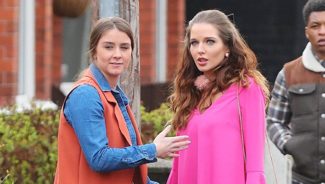 8.3.17........ Coronation Streets Rosie and Sophie Webster (played by Helen Flanagan and Brooke Vincent0 look a bit over dressed when they go looking for the auntie on a rough estate. The pair are seen wealking to a house full of rubbish in the front garden and looking through the window.