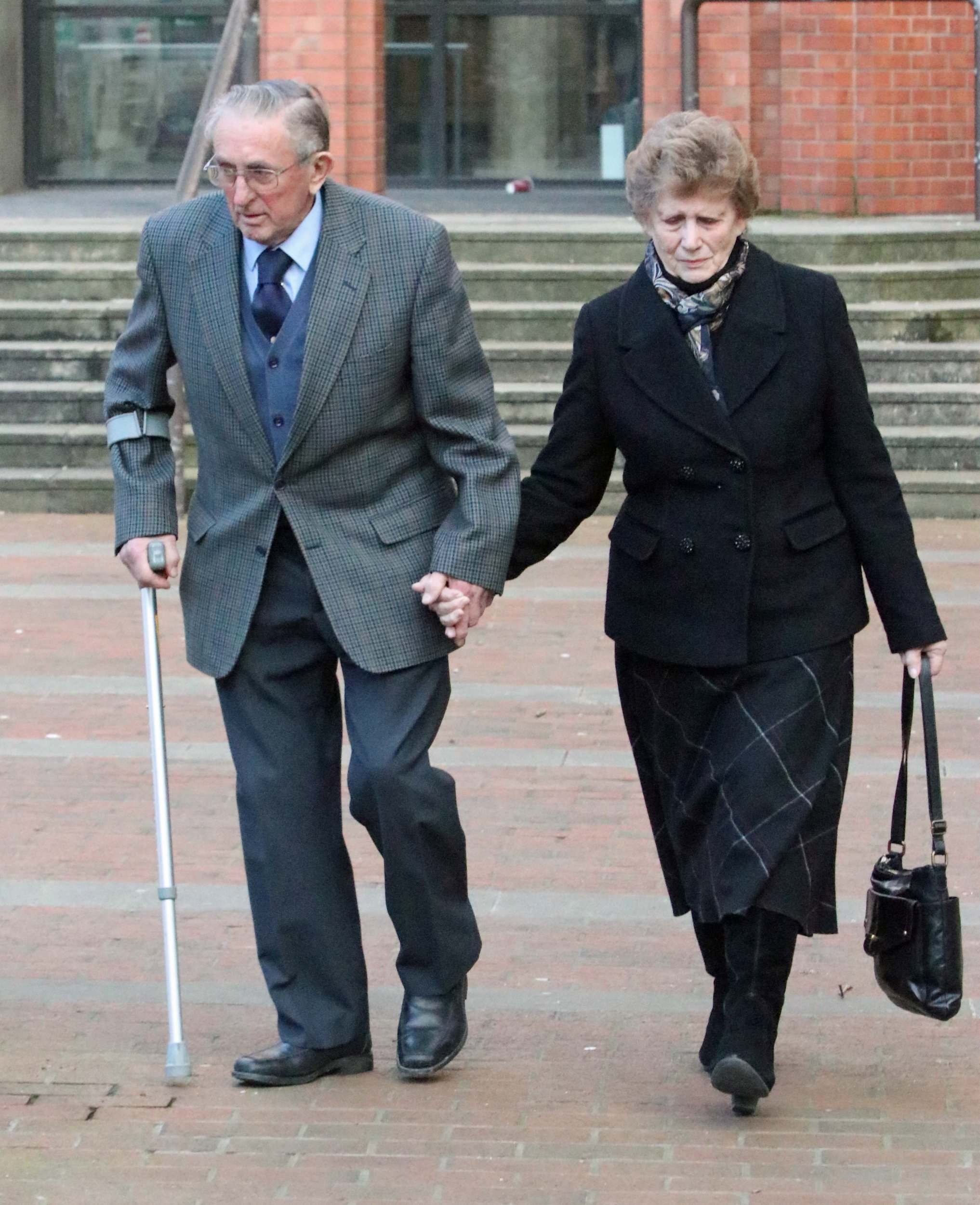 Farmer Kenneth Hugill with his wife Sheila Hugill leave Hull Crown Court where Mr Hugill is on trial for shooting a convicted burglar.