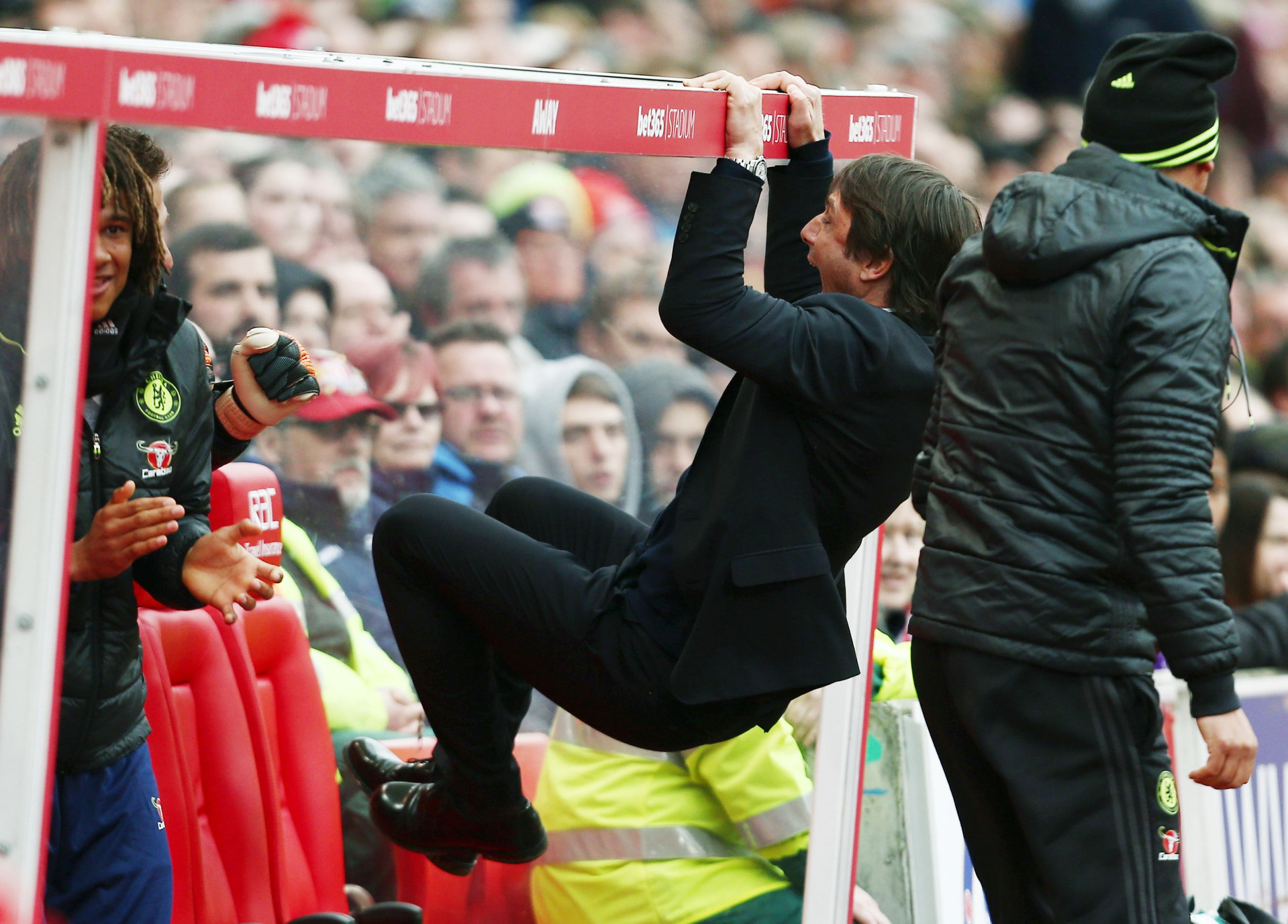 Chelsea manager Antonio Conte celebrates his teams goal to make it 1-2 during the Premier League match between Stoke City and Chelsea played at the bet365 Stadium, Stoke, on 18th March 2017