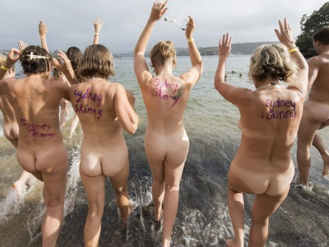 Naked swim sees a thousand people strip off and jump in the ocean