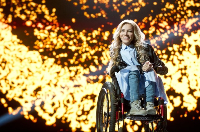 epa05863873 A handout photo dated 11 March 2017 and made available 22 March 2017 by press service of Russian TV Channel 1 shows Russian singer, composer and songwriter Julia Samoylova (Yulia Samoilova) who was to represent Russia with the song 'Flame Is Burning' in the 2017 Eurovision Song Contest in Kiev, Ukraine. Security Service of Ukraine (SBU) banned Julia Samoylova from traveling to Ukraine over 3 years for visiting Crimea in violation of the rules of Ukraine. EPA/RUSSIAN TV CHANNEL 1 PRESS SERVICE HANDOUT HANDOUT EDITORIAL USE ONLY/NO SALES HANDOUT EDITORIAL USE ONLY/NO SALES