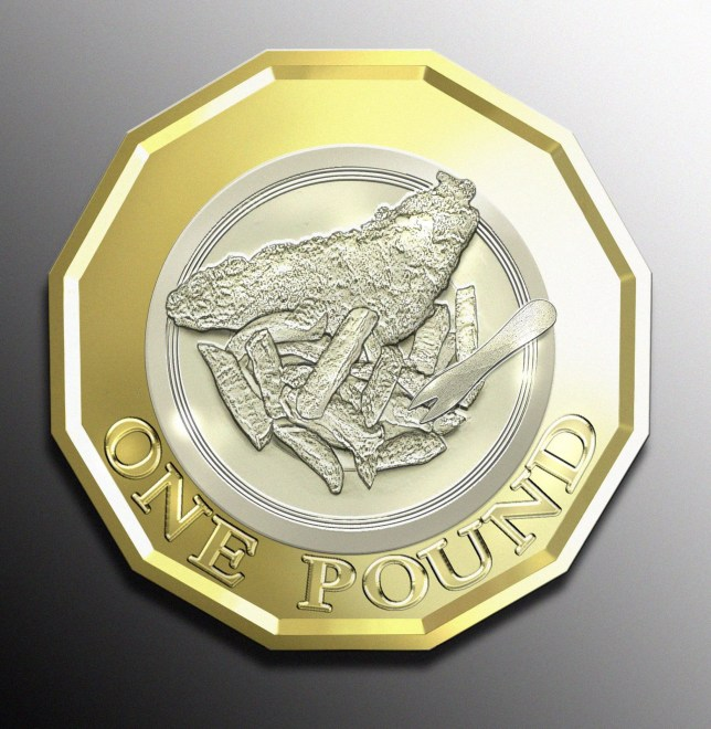 Pictured: A digital illustration showing what the Fish and Chip one pound coin would look like. One in five Britons would like to see a picture of fish and chips featured on the back of the new £1 coin, research has revealed. A new study showed that 20 per cent believe the traditional dish should be honoured on the 12-sided coin which will be introduced in October 15 this year. Meanwhile, 14 per cent think it would be fitting to put fictional spy James Bond on the reverse, while 20 per cent think it appropriate to commemorate rock legend David Bowie. The research reveals what celebrities, sports stars and fictional characters we believe have earnt themselves a special place on the 12-sided £1. SEE OUR COPY FOR MORE DETAILS. Please byline: Tony Wilson/ Solent Newsø © Tony Wilson/ Solent News UK +44 (0) 2380 458800