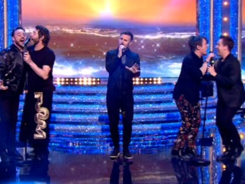 Take That become five again as Ant and Dec join them for hilarious performance