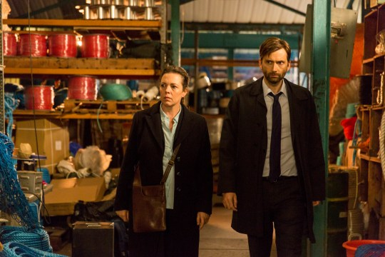 ITV BROADCHURCH SERIES 3 Pictured : DAVID TENNANT as DI ALEC HARDY and OLIVIA COLMAN as DS Ellie Miller. This photograph is (C) SISTER PICTURES and can only be reproduced for editorial purposes directly in connection with the programme or event mentioned above. Once made available by ITV plc Picture Desk, this photograph can be reproduced once only up until the transmission [TX] date and no reproduction fee will be charged. Any subsequent usage may incur a fee. This photograph must not be manipulated [excluding basic cropping] in a manner which alters the visual appearance of the person photographed deemed detrimental or inappropriate by ITV plc Picture Desk. This photograph must not be syndicated to any other company, publication or website, or permanently archived, without the express written permission of ITV Plc Picture Desk. Full Terms and conditions are available on the website www.itvpictures.com For further information please contact: Patrick.smith@itv.com 0207 1573044