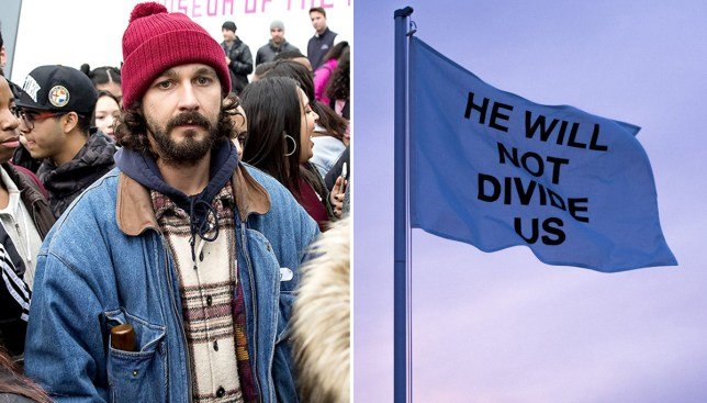 Shia LaBeouf has relocated his anti-Trump project to Liverpool (Picture: REX/Twitter)
