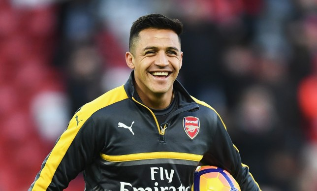 LIVERPOOL, ENGLAND - MARCH 04: Alexis Sanchez of Arsenal warms up prior to the Premier League match between Liverpool and Arsenal at Anfield on March 4, 2017 in Liverpool, England. (Photo by Laurence Griffiths/Getty Images)