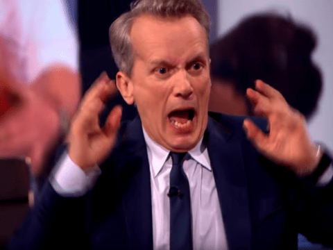 Gordon Ramsay pretended to cut his finger off in a blender on TV and Frank Skinner's face is too funny
