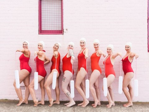 This synchronised swimming group is doing a special performance dedicated to periods