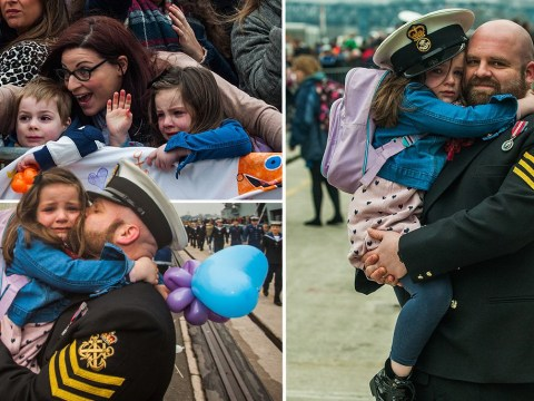 Tearful girl, 5, clings to her dad as HMS Ocean returns home from the Middle East