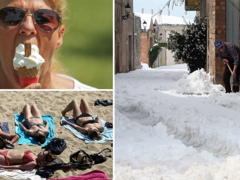 Spain buried under four inches of snow as Brits bask on hottest day of the year