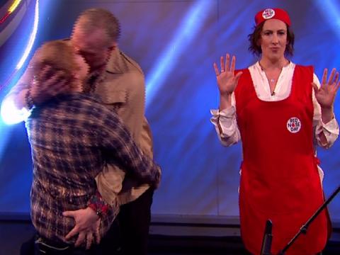 Ed Sheeran SNOGS Greg Davies on Comic Relief after nearly locking lips with Miranda