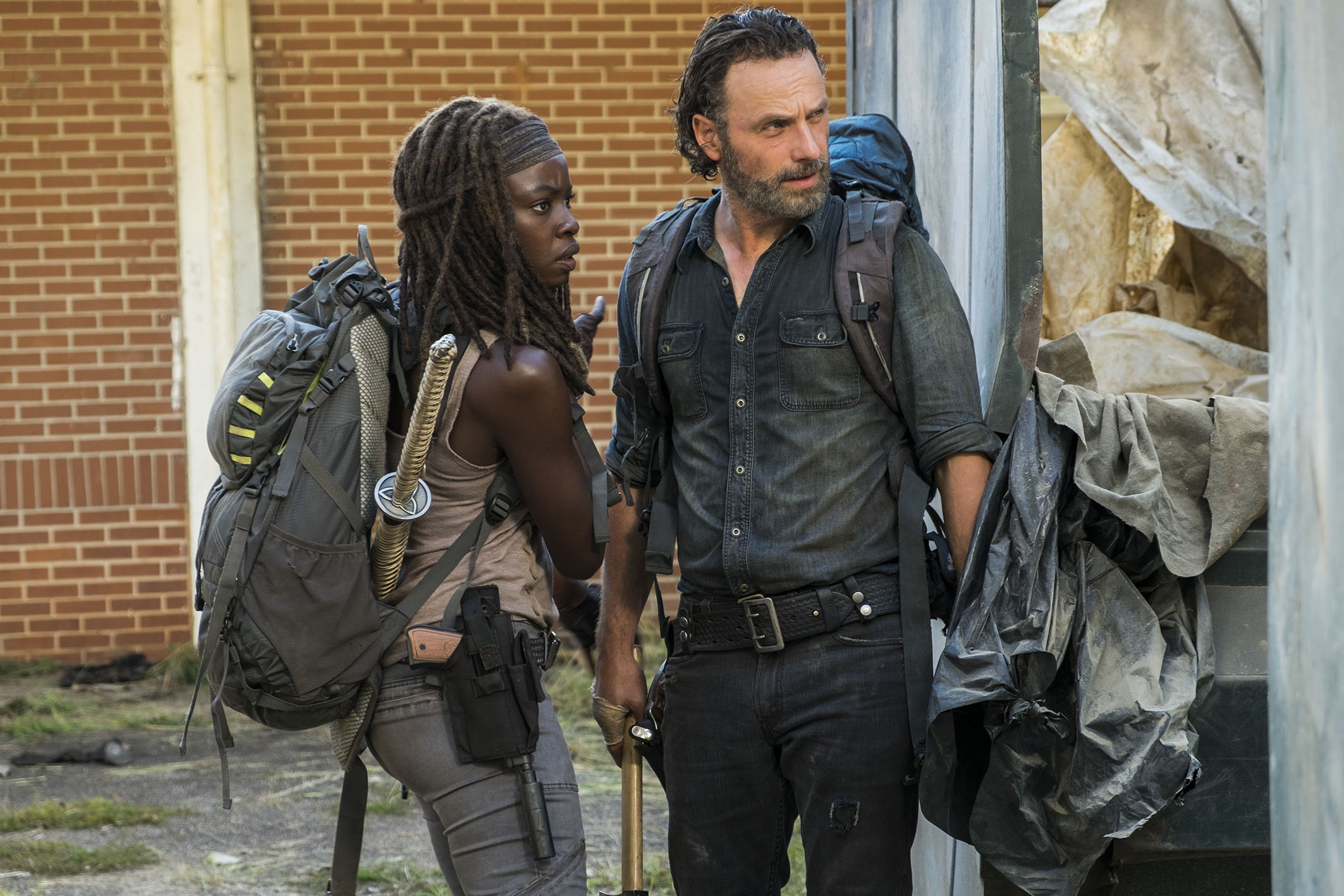 Andrew Lincoln as Rick Grimes, Danai Gurira as Michonne - The Walking Dead _ Season 7, Episode 12 - Photo Credit: Gene Page/AMC