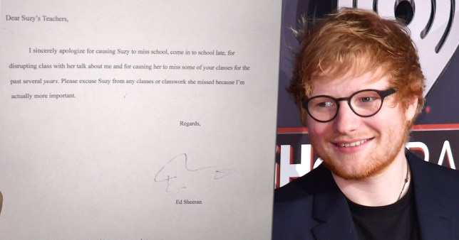 Ed Sheeran signed this girls apology letter for missing school to see him