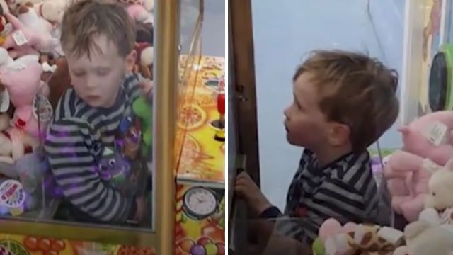 Boy, 5, gets stuck inside claw toy-grabbing machine