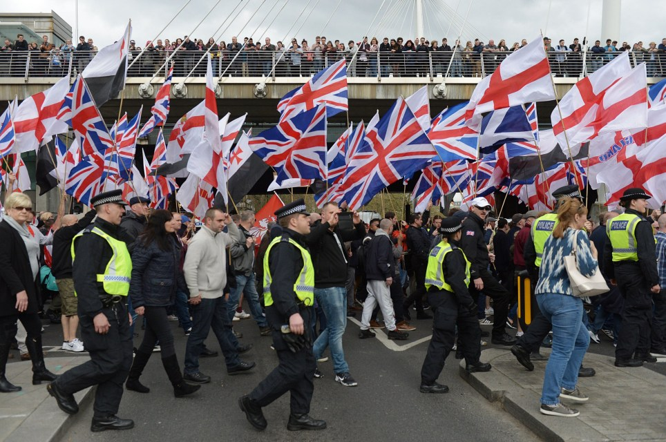 Britain First and EDL (English Defence League) protesters at a demonstration in London. PRESS ASSOCIATION Photo. Picture date: Saturday April 1, 2017. See PA story PROTEST Terror. Photo credit should read: Ben Stevens/PA Wire