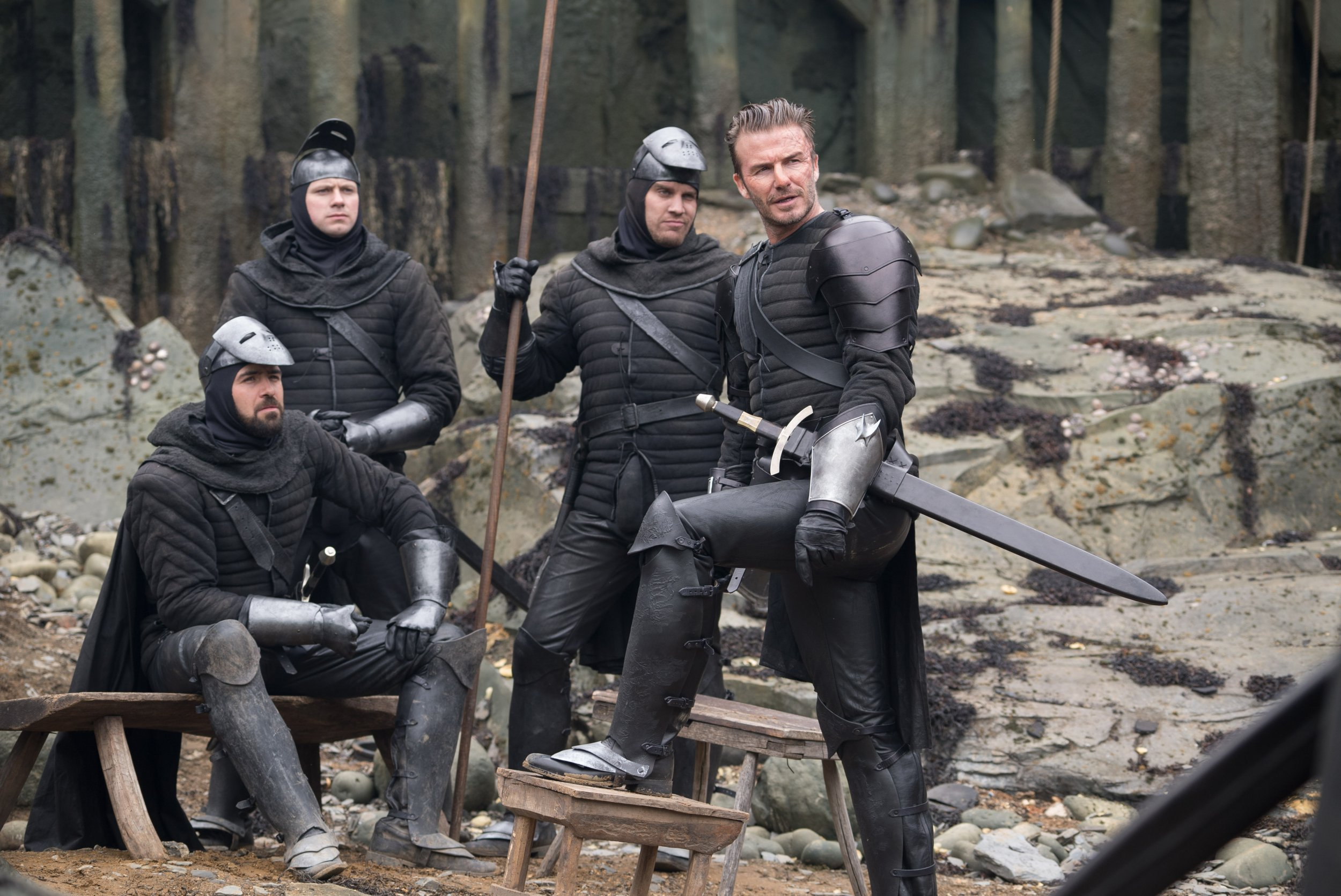 Take a look at David Beckham as he swaps the football kit for a suit of armour