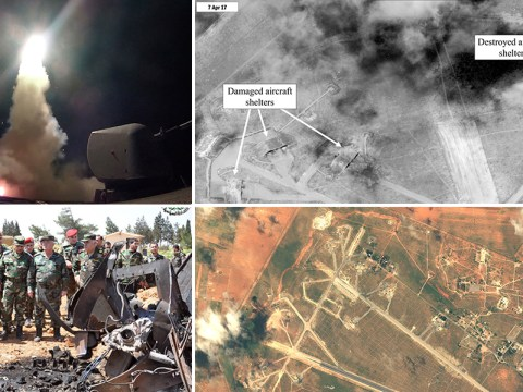 Pentagon releases satellite images of Syrian airfield hit by US airstrikes