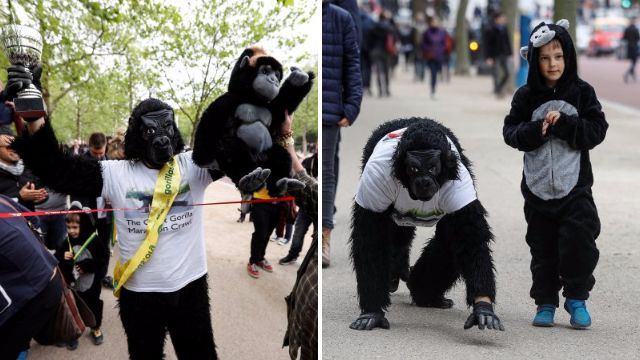 Mr Gorilla finally completes the London Marathon after six days