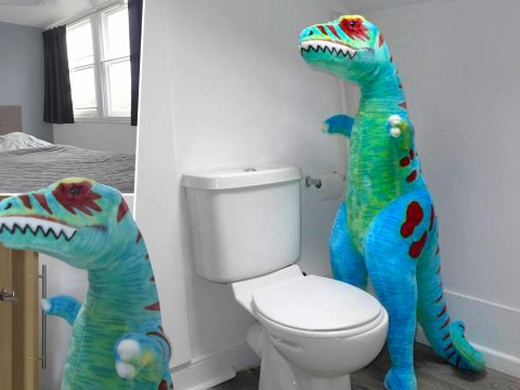 Guy hilariously advertises spare room using a giant toy T. Rex