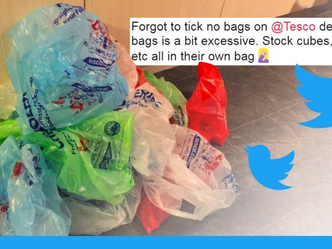 Tesco deliver home shopping items in 28 bags including one with just a KitKat