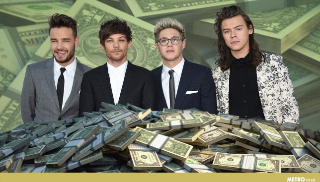 Turns out it's not cheap to keep One Direction bandmates Niall Horan, Harry Styles, Louis Tomlinson, Zayn Malik (not pictured) and Liam Payne looking and sounding great (Picture: Getty Images/Mylo)