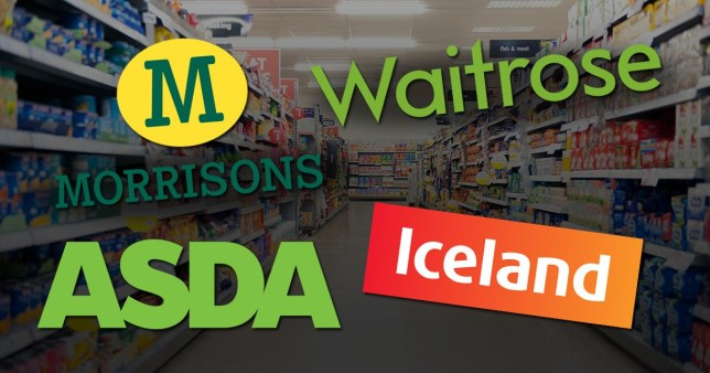 The logos for Morrisons, Asda, Waitrose and Iceland in front of a supermarket shopping aisle