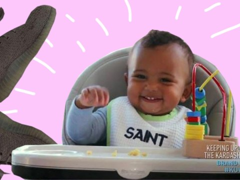 Saint West shows off his Yeezy Boost best