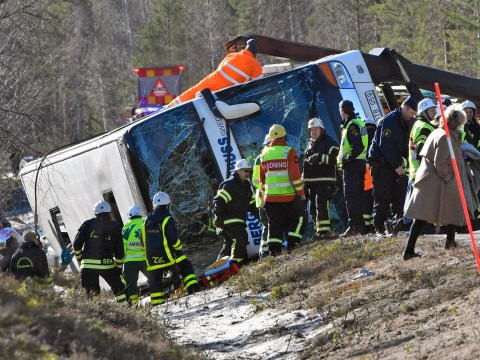 Three dead after bus carrying 50 schoolchildren flips over