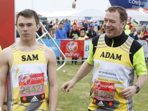 Adam Woodyatt praises 'miraculous' son after he finishes London Marathon three hours ahead of him