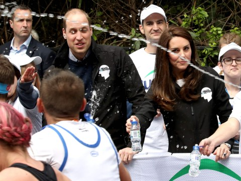 Royal Family squirted with water by runners in the London Marathon