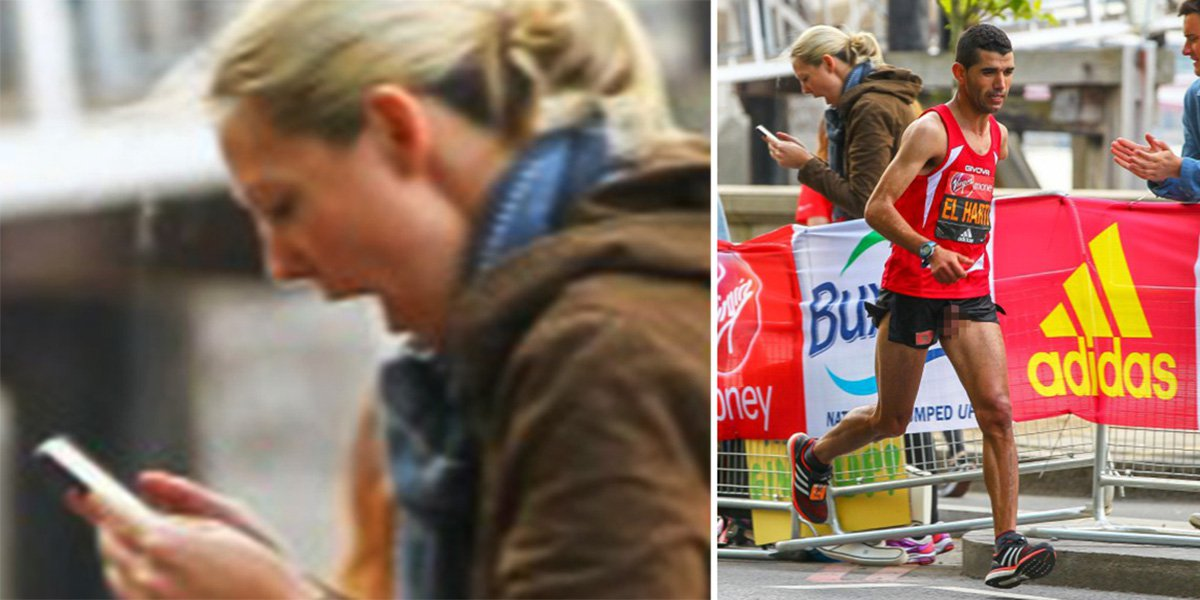 Woman takes photo of marathon runner – gets much more than she bargained for