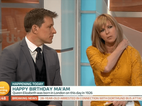 Kate Garraway's dress pops open live on Good Morning Britain as she's talking about the Queen