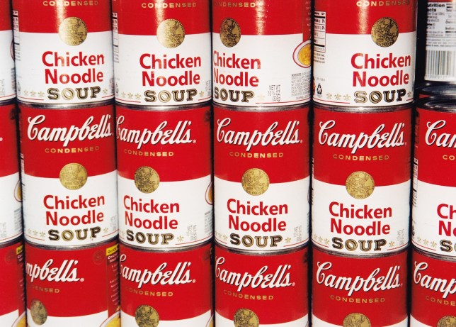 Tins of Campbells soup stacked up