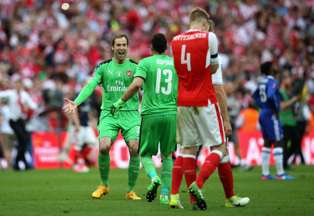 Petr Cech celebrates Arsenal FA Cup win with goalkeeper rival David Ospina