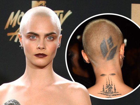 Cara Delevingne unveils fierce new head tattoo on the MTV Movie And TV Awards red carpet