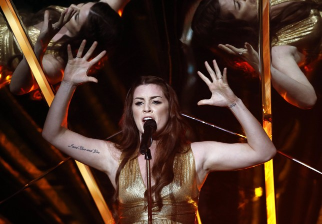 epa05951028 Lucie Jones of the United Kingdom performs her song 'Never give up on you' during rehearsals for the First Semi Final of the 62nd annual Eurovision Song Contest (ESC) at the International Exhibition Centre in Kiev, Ukraine, 08 May 2017. The ESC 2017 Grand Final is held on 13 May. EPA/TATYANA ZENKOVICH