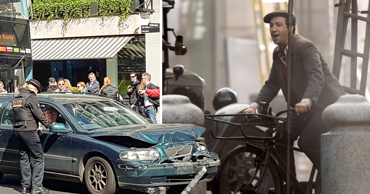 Mary Poppins' filming carnage outside St Paul's Cathedral as Lin-Manuel Miranda takes to the streets of London