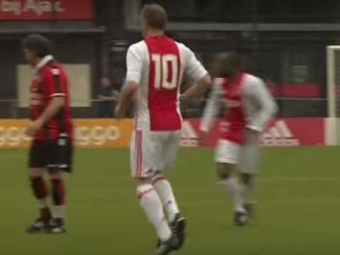 Arsenal legend Dennis Bergkamp rolls back the years with stunning goal in Ajax memorial match