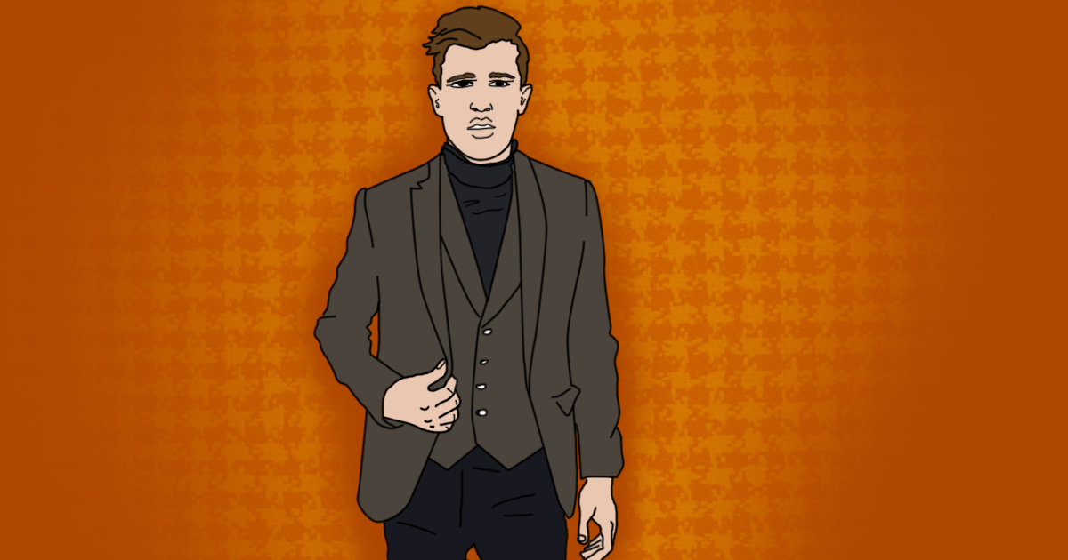 Illustration of a man in authority wearing a waistcoat and jacket