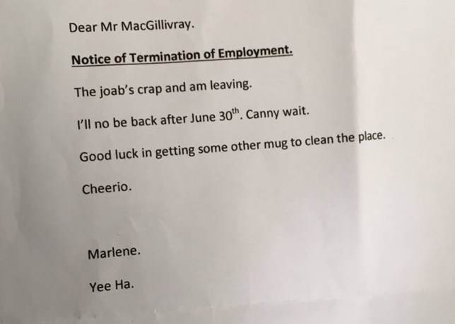 Marlene S Resignation Letter Is How Everyone Should Quit Their Job
