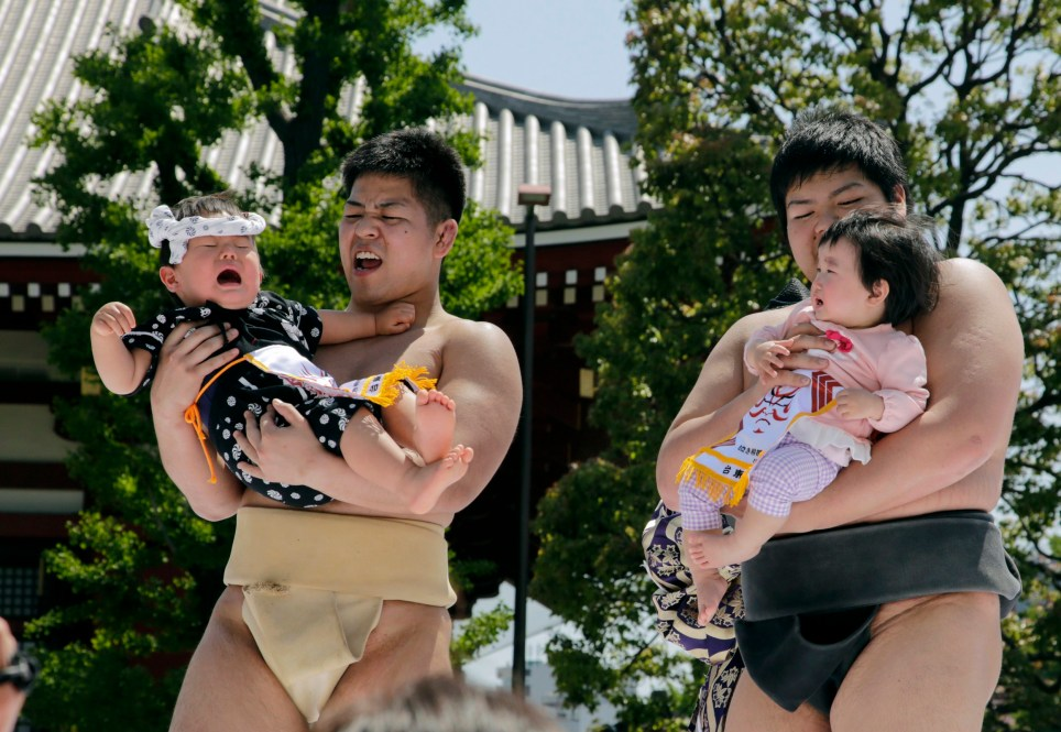 Baby crying contest of Nakizumo in Tokyo