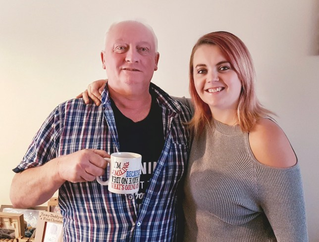 Mother expresses breast milk for her own dad's morning coffee