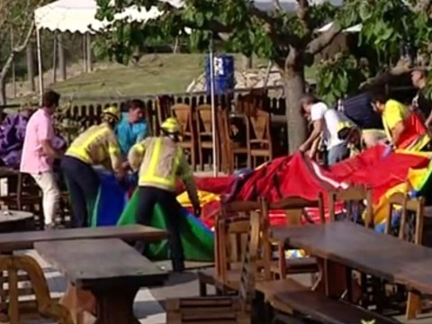 Girl, 6, killed and six children injured after bouncy castle explodes at restaurant