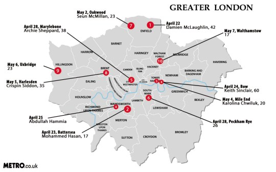 Map Of Greater London Area Uk.Roll Call Of Death Map Shows How Widespread Knife Crime Is Across