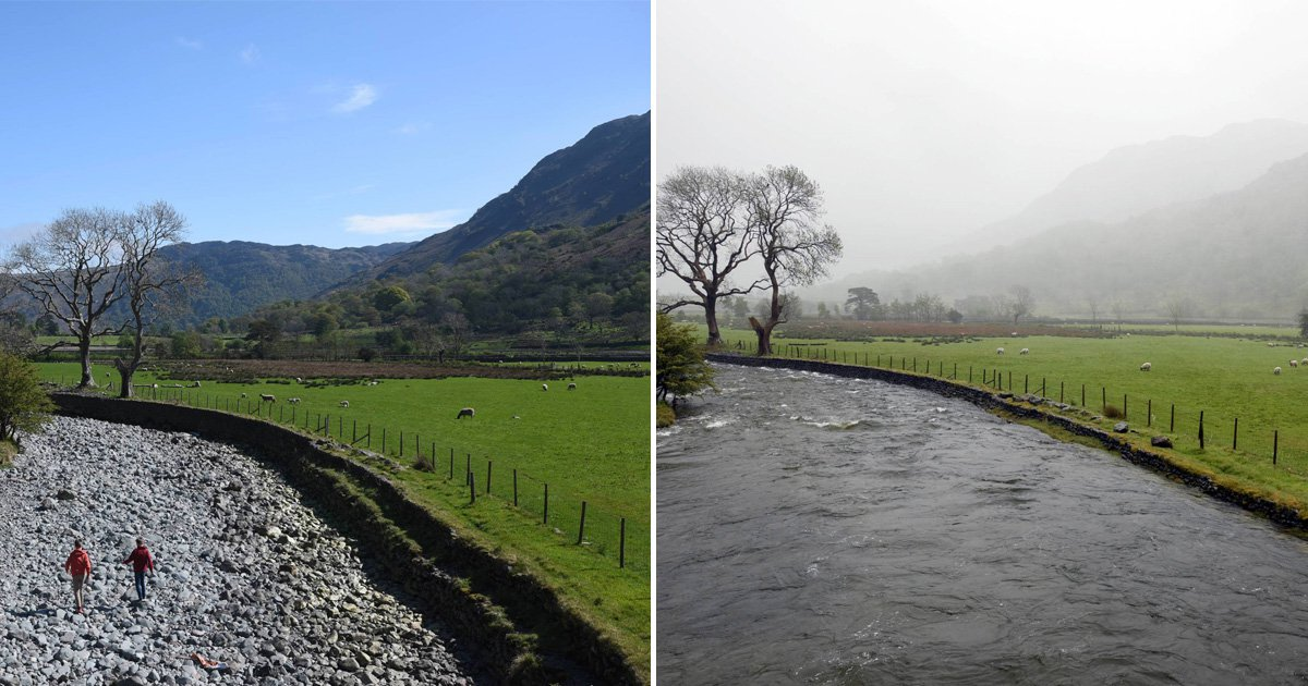 Drought? What Drought? River goes from dry to full-flow in days