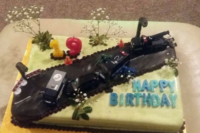 Magnificent Banned Driver Trolls Police With Car Crash Birthday Cake In Funny Birthday Cards Online Necthendildamsfinfo
